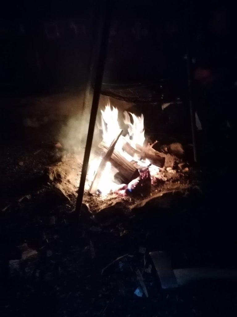 Tutti intorno al fuoco dopo aver fatto l'attività di dogsledding.