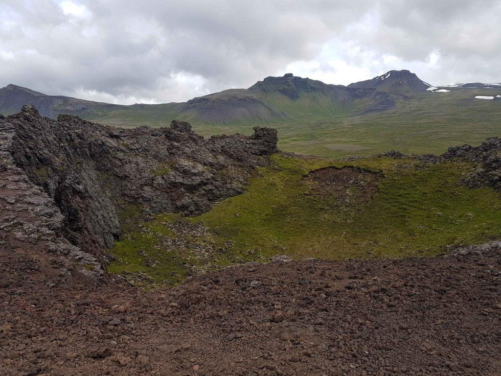 La vista in cima al cratere Saxholl.