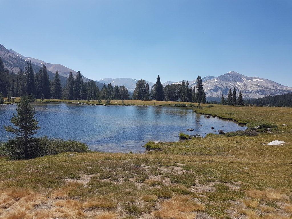 All'interno del parco dello Yosemite. Lago e montagne sullo sfondo.