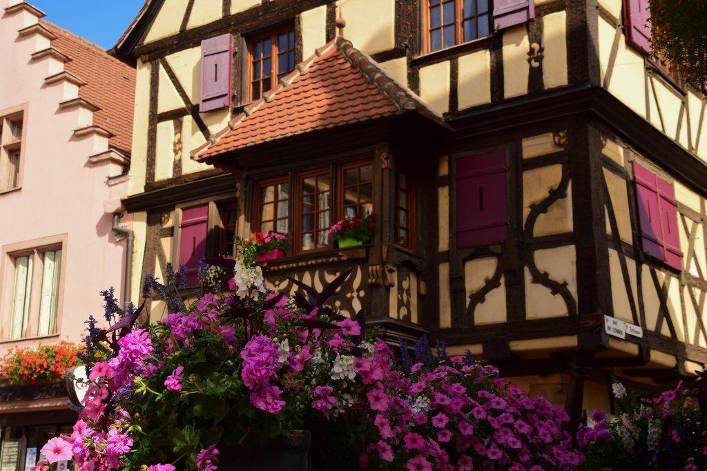 Viaggio in Alsazia: una bella casa fiorita nel centro di Turckheim.